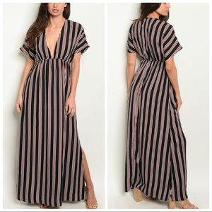 NEW Black and Red Striped Deep V Maxi Dress